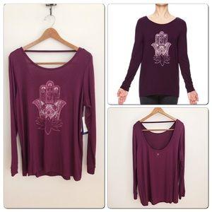Gaiam Hailey Hamsa Lotus Yoga Purple L/S T Shirt
